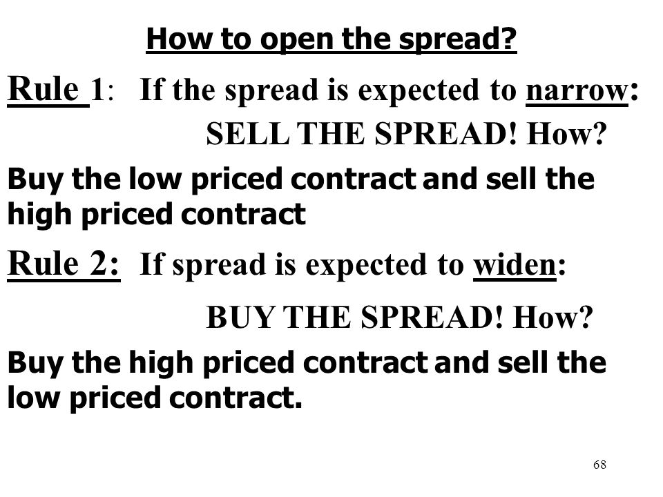 68 How to open the spread. Rule 1:If the spread is expected to narrow : SELL THE SPREAD.