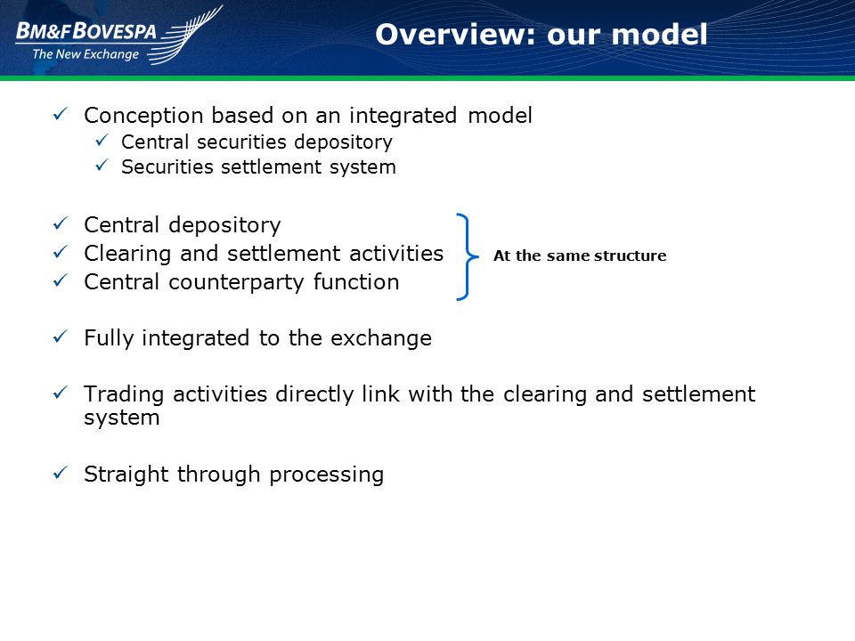 Conception based on an integrated model Central securities depository Securities settlement system Central depository Clearing and settlement activities Central counterparty function Fully integrated to the exchange Trading activities directly link with the clearing and settlement system Straight through processing Overview: our model At the same structure