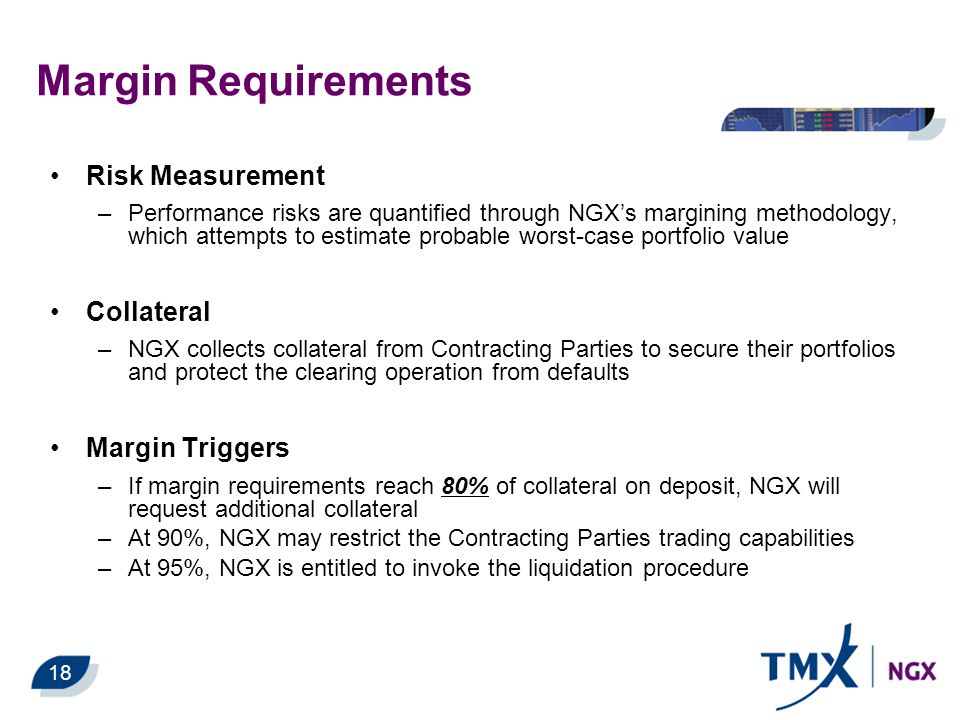 Margin Requirements Risk Measurement –Performance risks are quantified through NGX's margining methodology, which attempts to estimate probable worst-case portfolio value Collateral –NGX collects collateral from Contracting Parties to secure their portfolios and protect the clearing operation from defaults Margin Triggers –If margin requirements reach 80% of collateral on deposit, NGX will request additional collateral –At 90%, NGX may restrict the Contracting Parties trading capabilities –At 95%, NGX is entitled to invoke the liquidation procedure 18