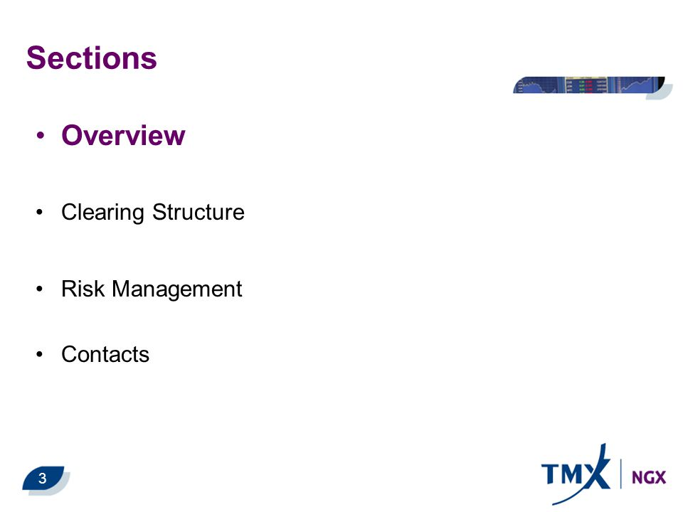 Sections Overview Clearing Structure Risk Management Contacts 3
