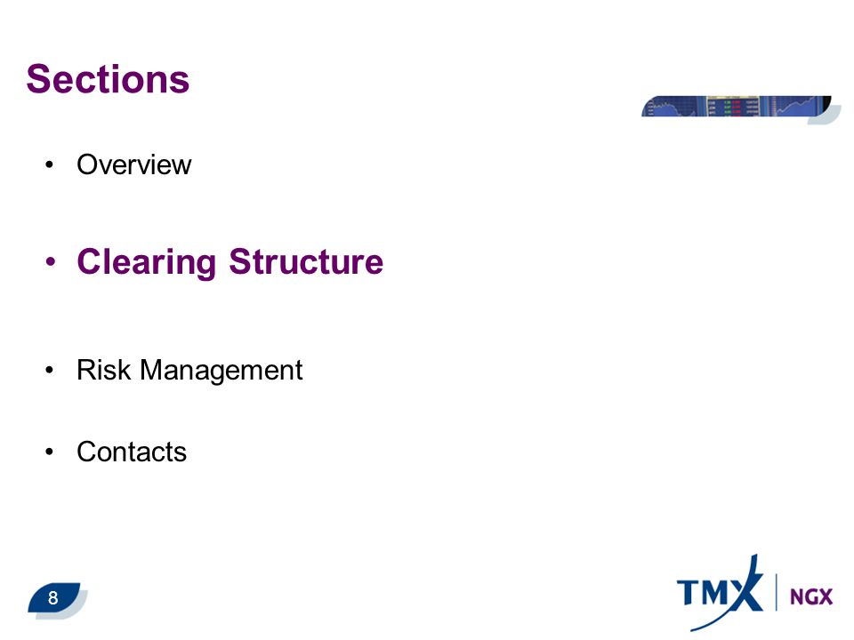 Sections Overview Clearing Structure Risk Management Contacts 8