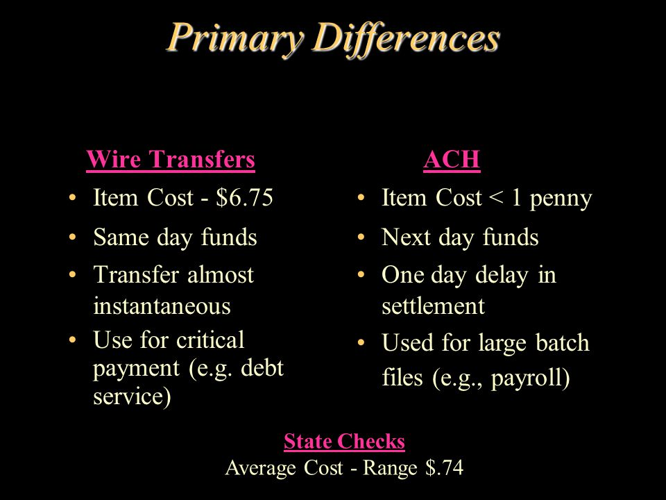 Primary Differences Wire Transfers Item Cost - $6.75 Same day funds Transfer almost instantaneous Use for critical payment (e.g. debt service) ACH Ite
