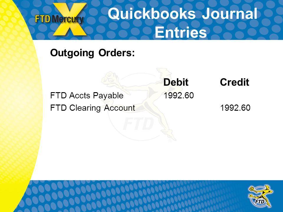 27 Quickbooks Journal Entries Outgoing Orders: DebitCredit FTD Accts Payable 1992.60 FTD Clearing Account1992.60