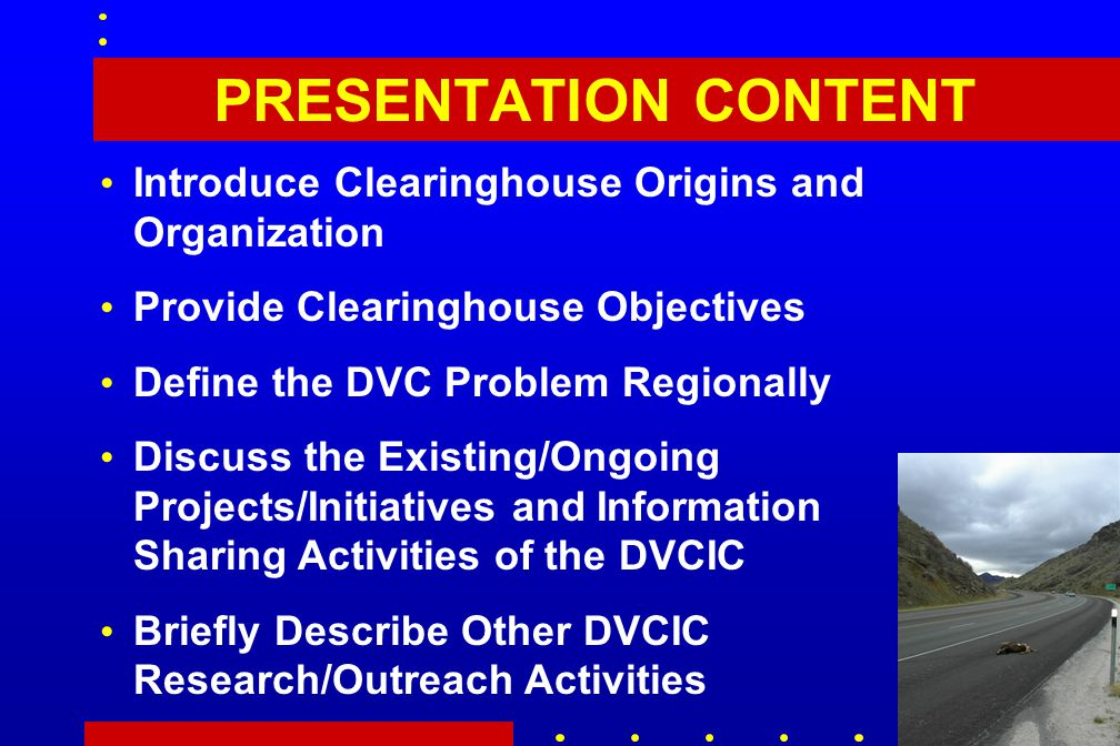 PRESENTATION CONTENT Introduce Clearinghouse Origins and Organization Provide Clearinghouse Objectives Define the DVC Problem Regionally Discuss the Existing/Ongoing Projects/Initiatives and Information Sharing Activities of the DVCIC Briefly Describe Other DVCIC Research/Outreach Activities