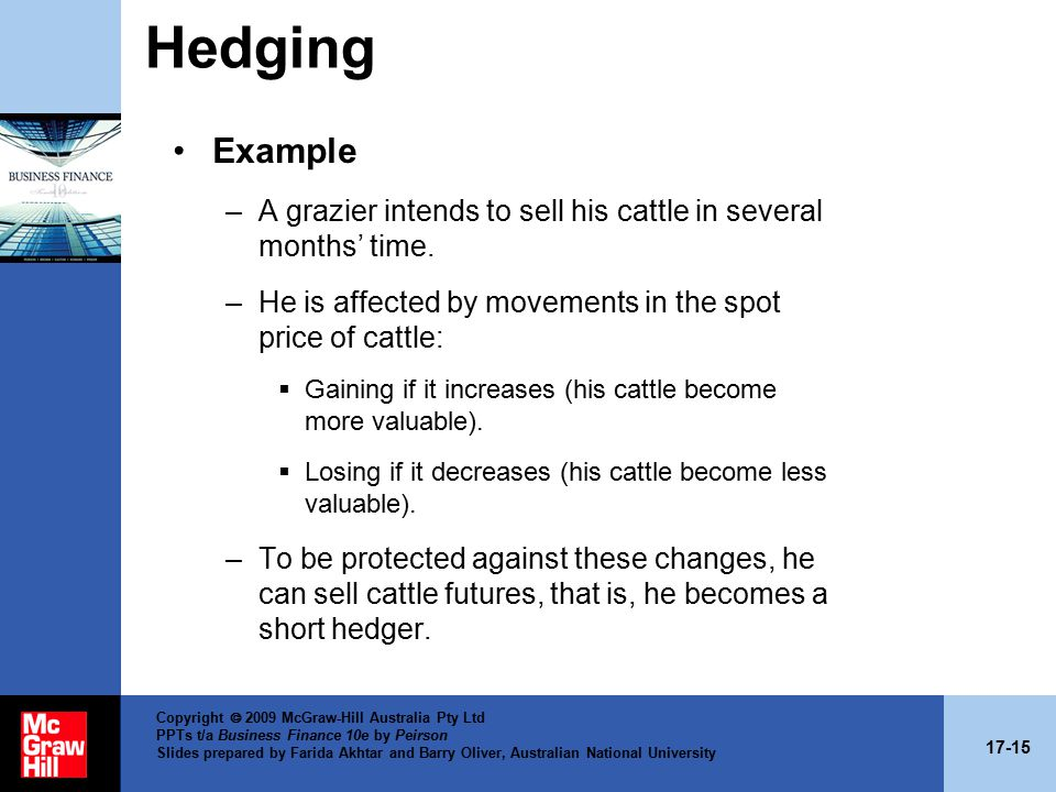 17-15 Copyright  2009 McGraw-Hill Australia Pty Ltd PPTs t/a Business Finance 10e by Peirson Slides prepared by Farida Akhtar and Barry Oliver, Australian National University Hedging Example –A grazier intends to sell his cattle in several months' time.