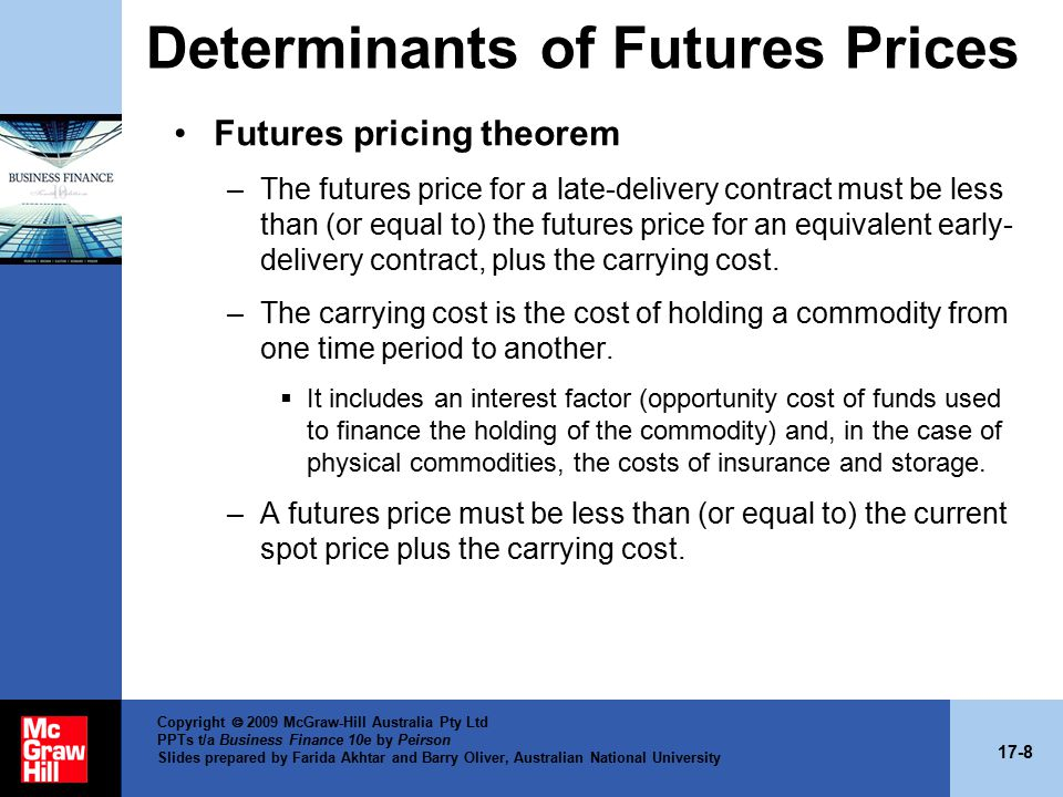 17-8 Copyright  2009 McGraw-Hill Australia Pty Ltd PPTs t/a Business Finance 10e by Peirson Slides prepared by Farida Akhtar and Barry Oliver, Australian National University Determinants of Futures Prices Futures pricing theorem –The futures price for a late-delivery contract must be less than (or equal to) the futures price for an equivalent early- delivery contract, plus the carrying cost.