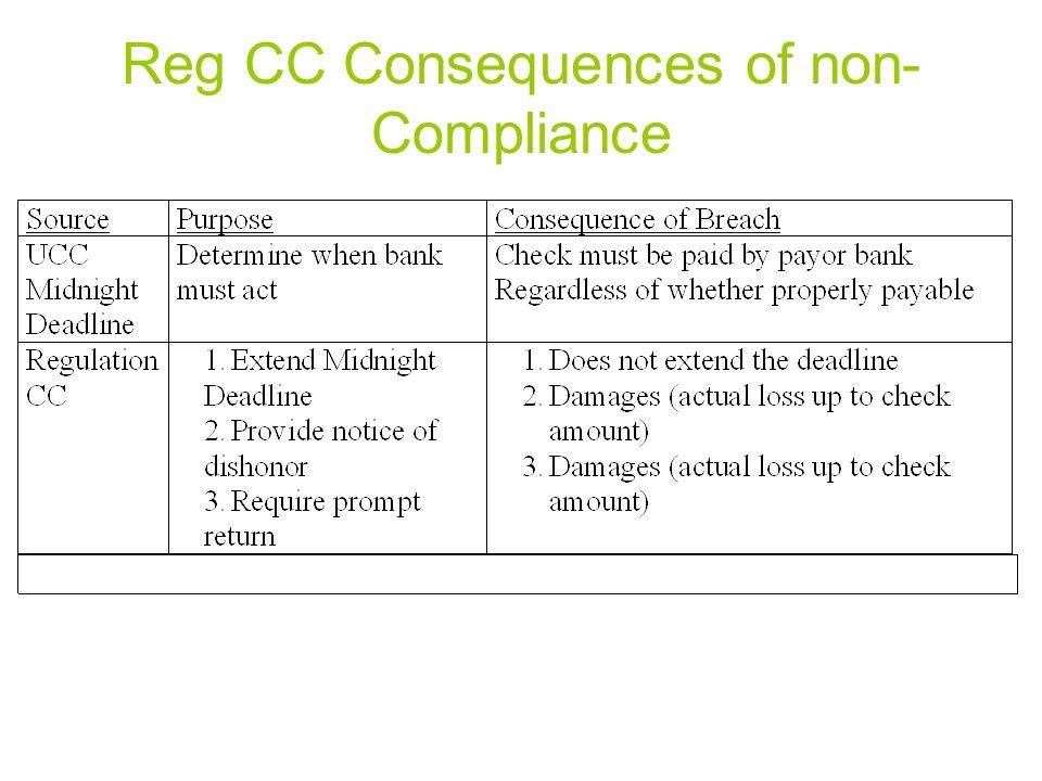 Reg CC Consequences of non- Compliance