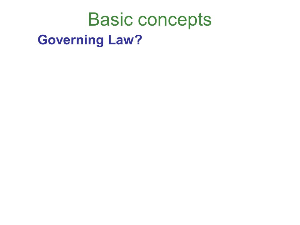 Basic concepts Governing Law?