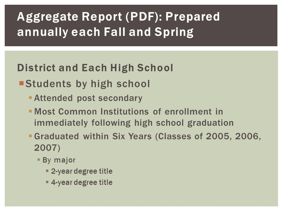 Aggregate Report (PDF): Prepared annually each Fall and Spring District and Each High School  Students by high school  Attended post secondary  Most Common Institutions of enrollment in immediately following high school graduation  Graduated within Six Years (Classes of 2005, 2006, 2007)  By major  2-year degree title  4-year degree title