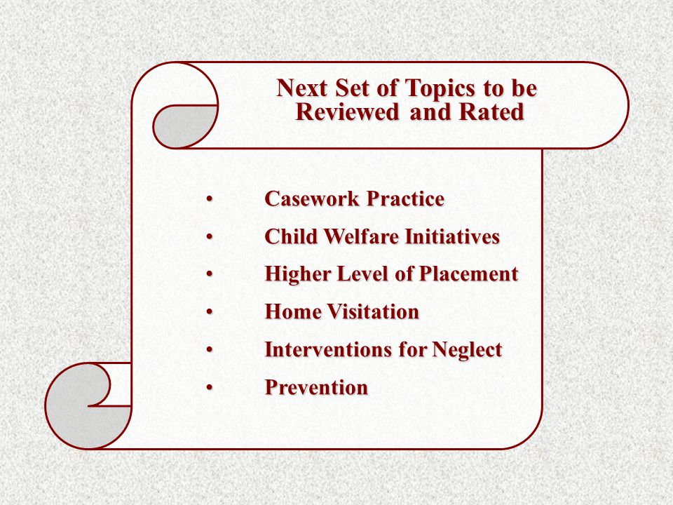 Casework PracticeCasework Practice Child Welfare InitiativesChild Welfare Initiatives Higher Level of PlacementHigher Level of Placement Home VisitationHome Visitation Interventions for NeglectInterventions for Neglect PreventionPrevention Next Set of Topics to be Reviewed and Rated Reviewed and Rated