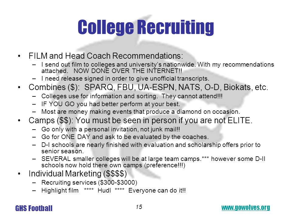 www.gowolves.org GHS Football 15 College Recruiting FILM and Head Coach Recommendations: –I send out film to colleges and university's nationwide.