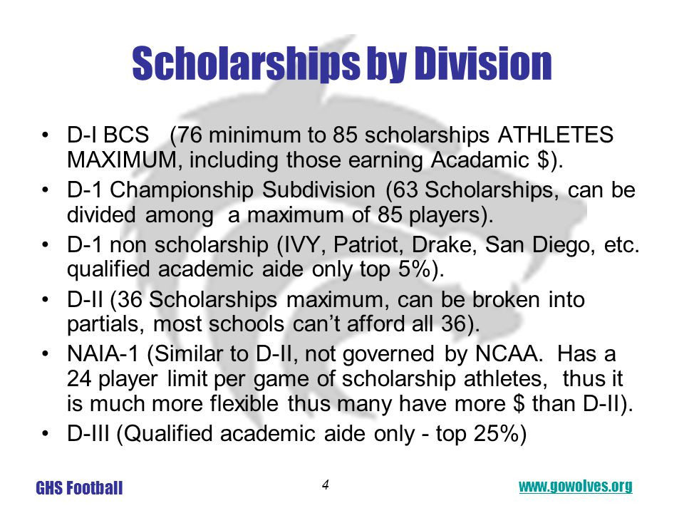 www.gowolves.org GHS Football 4 Scholarships by Division D-I BCS (76 minimum to 85 scholarships ATHLETES MAXIMUM, including those earning Acadamic $).