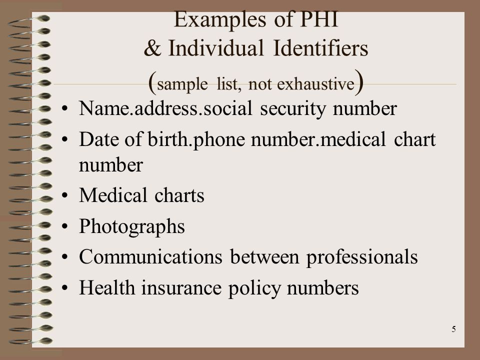 5 Examples of PHI & Individual Identifiers ( sample list, not exhaustive ) Name.address.social security number Date of birth.phone number.medical chart number Medical charts Photographs Communications between professionals Health insurance policy numbers
