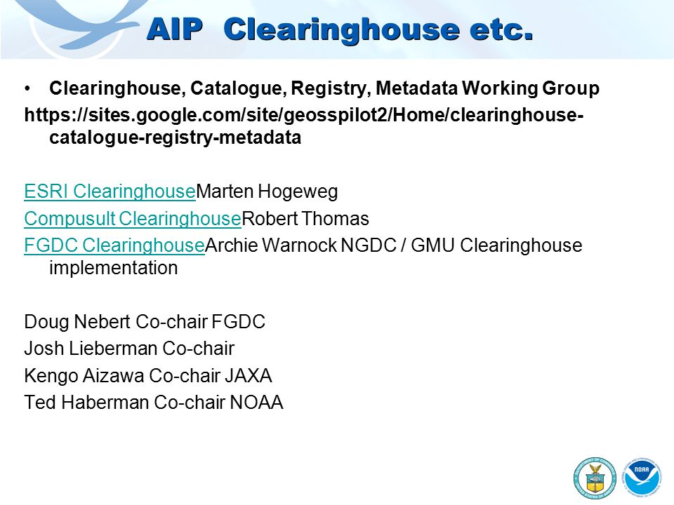 AIP Clearinghouse etc.