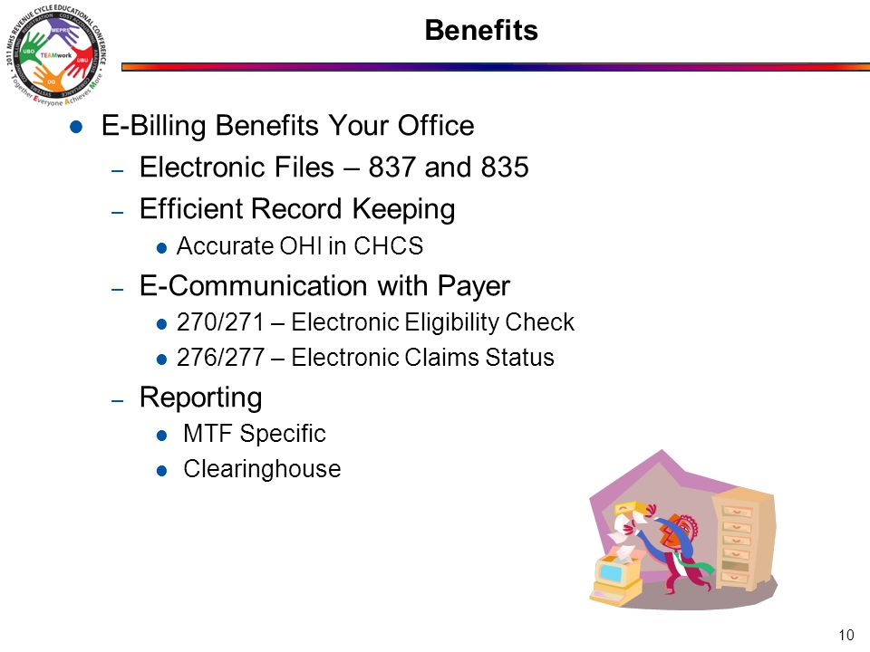 E-Billing Benefits Your Office – Electronic Files – 837 and 835 – Efficient Record Keeping Accurate OHI in CHCS – E-Communication with Payer 270/271 –