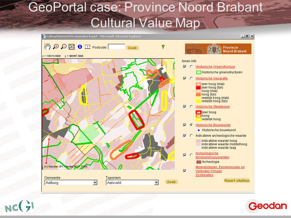 GeoPortal case: Province Noord Brabant Cultural Value Map