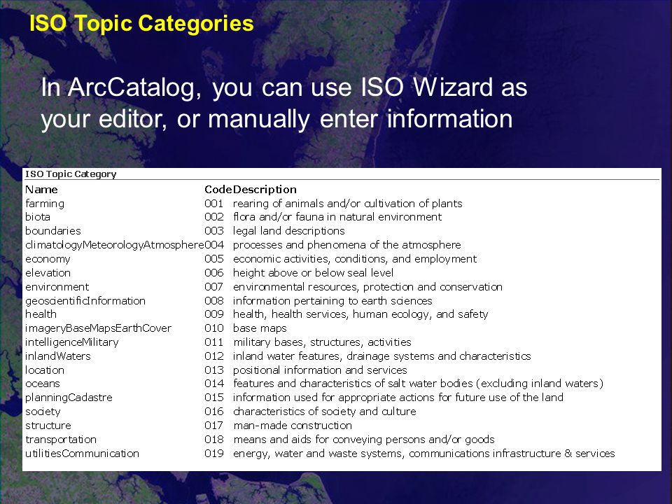 ISO Topic Categories In ArcCatalog, you can use ISO Wizard as your editor, or manually enter information