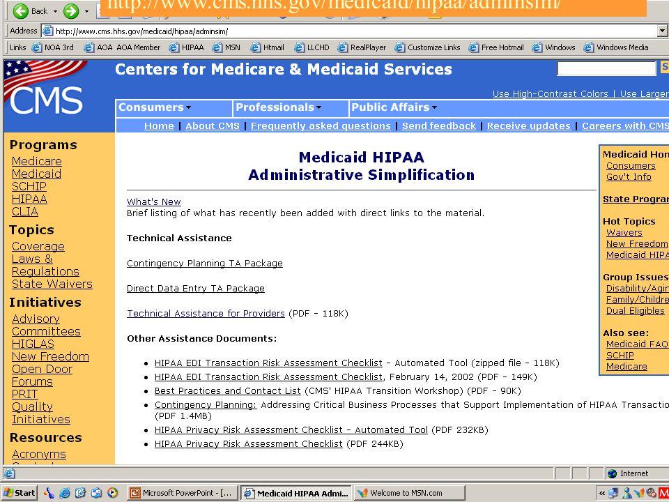 103 http://www.cms.hhs.gov/medicaid/hipaa/adminsim/