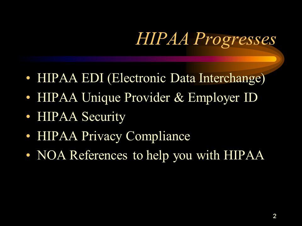 2 HIPAA Progresses HIPAA EDI (Electronic Data Interchange) HIPAA Unique Provider & Employer ID HIPAA Security HIPAA Privacy Compliance NOA References to help you with HIPAA