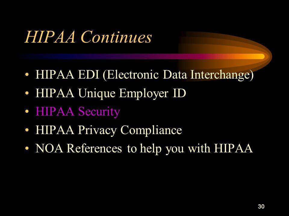 30 HIPAA Continues HIPAA EDI (Electronic Data Interchange) HIPAA Unique Employer ID HIPAA Security HIPAA Privacy Compliance NOA References to help you with HIPAA