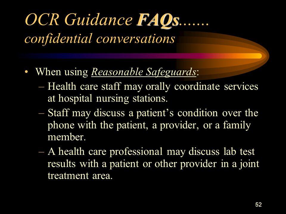 52 FAQs OCR Guidance FAQs.......