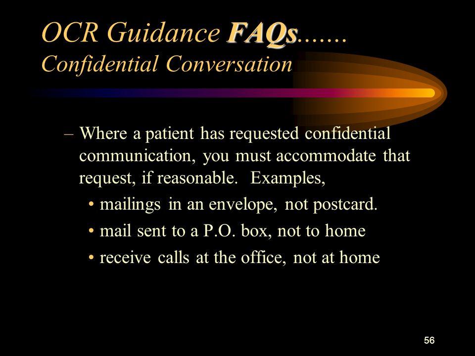 56 FAQs OCR Guidance FAQs.......