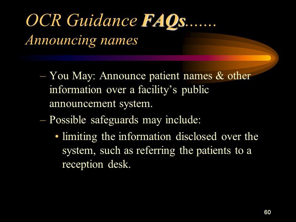 60 FAQs OCR Guidance FAQs.......