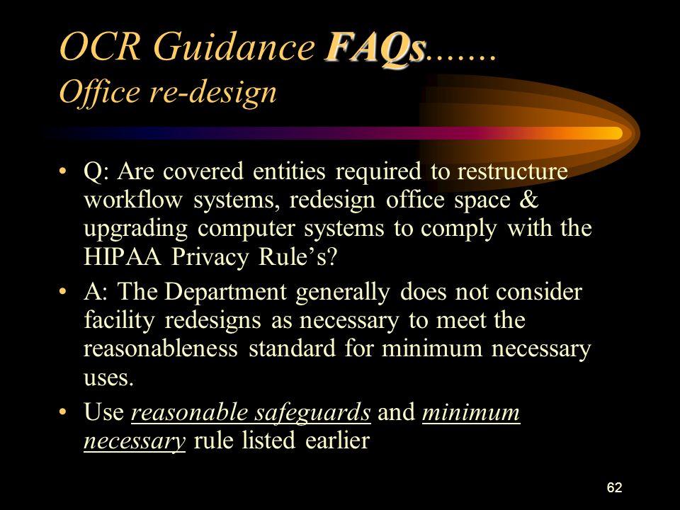 62 FAQs OCR Guidance FAQs.......