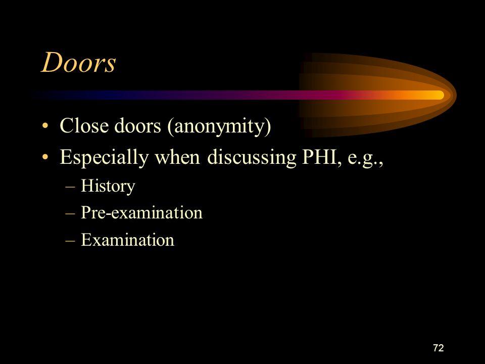 72 Doors Close doors (anonymity) Especially when discussing PHI, e.g., –History –Pre-examination –Examination