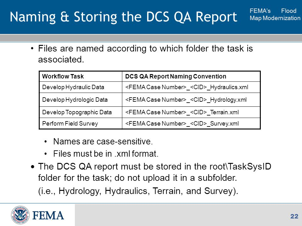 FEMA's Flood Map Modernization 22 Naming & Storing the DCS QA Report Files are named according to which folder the task is associated.