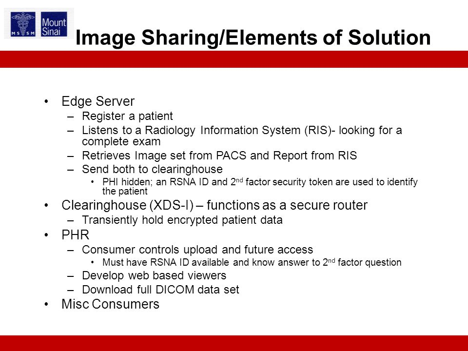 Edge Server –Register a patient –Listens to a Radiology Information System (RIS)- looking for a complete exam –Retrieves Image set from PACS and Report from RIS –Send both to clearinghouse PHI hidden; an RSNA ID and 2 nd factor security token are used to identify the patient Clearinghouse (XDS-I) – functions as a secure router –Transiently hold encrypted patient data PHR –Consumer controls upload and future access Must have RSNA ID available and know answer to 2 nd factor question –Develop web based viewers –Download full DICOM data set Misc Consumers Image Sharing/Elements of Solution