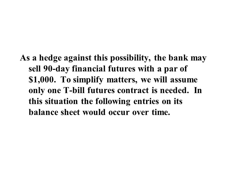 As a hedge against this possibility, the bank may sell 90-day financial futures with a par of $1,000.