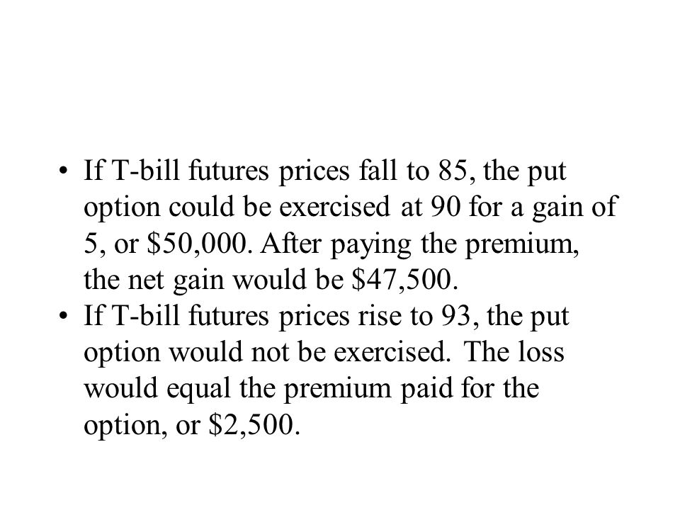 If T-bill futures prices fall to 85, the put option could be exercised at 90 for a gain of 5, or $50,000.