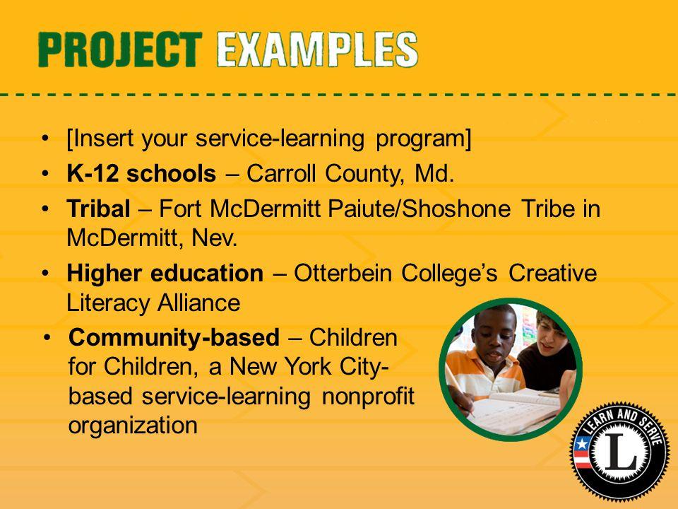 [Insert your service-learning program] K-12 schools – Carroll County, Md.