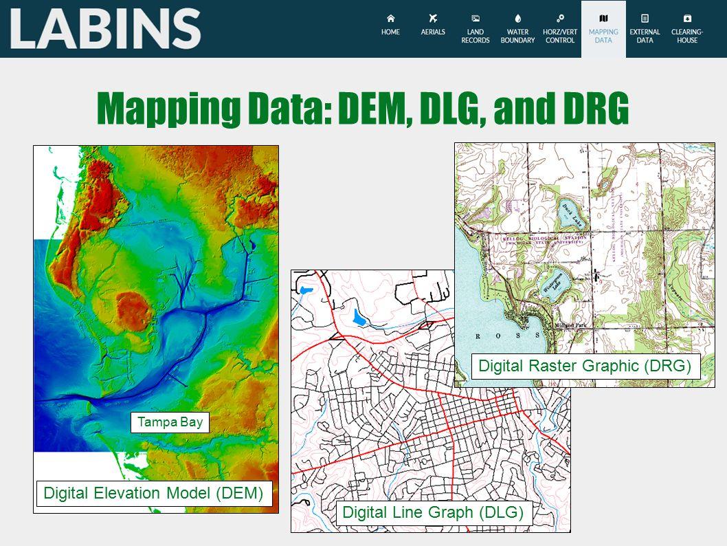 Mapping Data: DEM, DLG, and DRG Digital Elevation Model (DEM) Digital Line Graph (DLG) Digital Raster Graphic (DRG) Tampa Bay