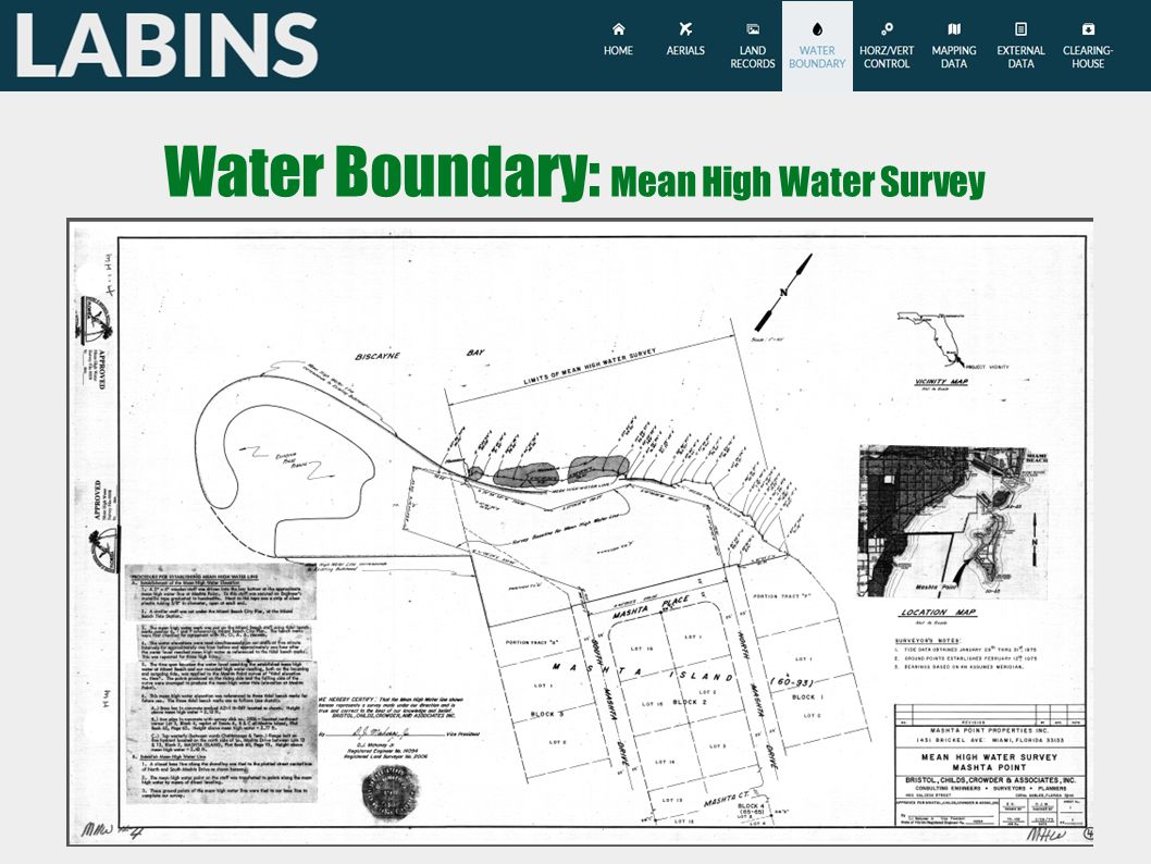 Water Boundary: Mean High Water Survey