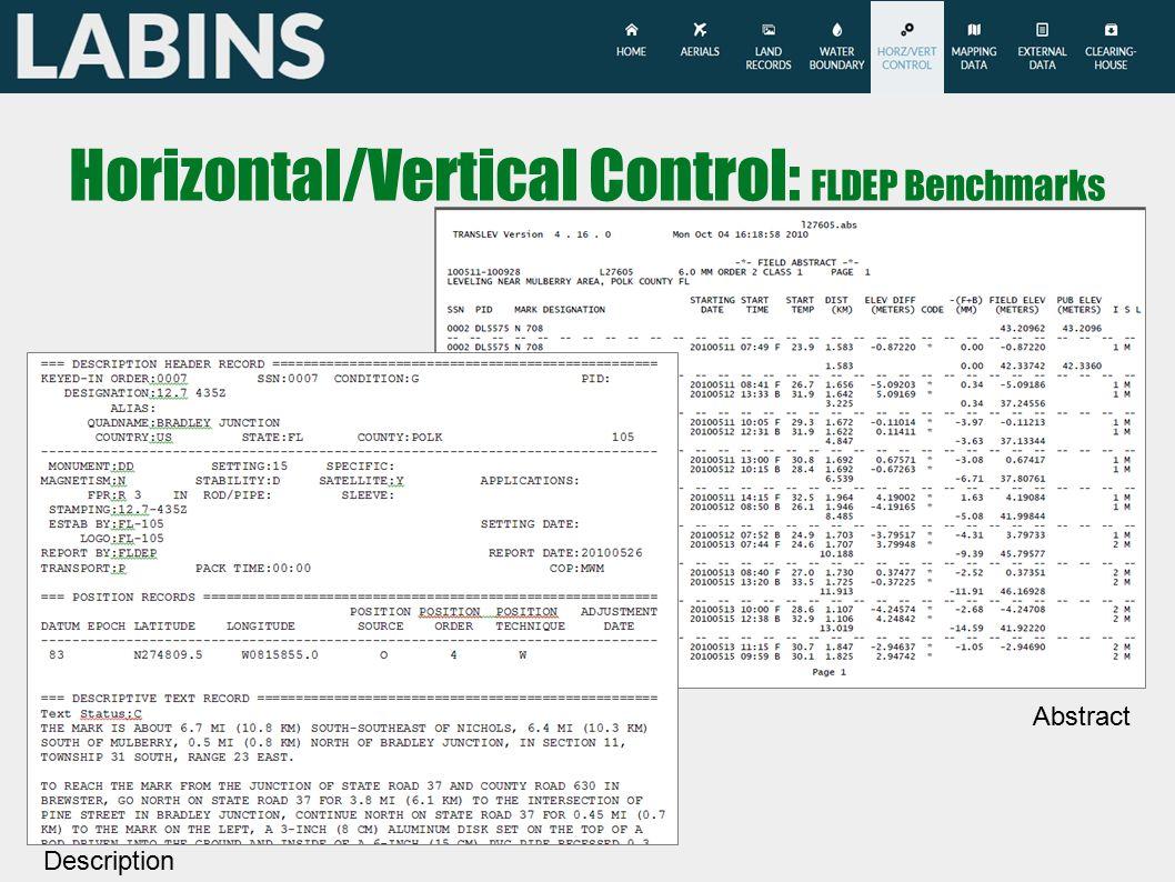 Horizontal/Vertical Control: FLDEP Benchmarks Description Abstract