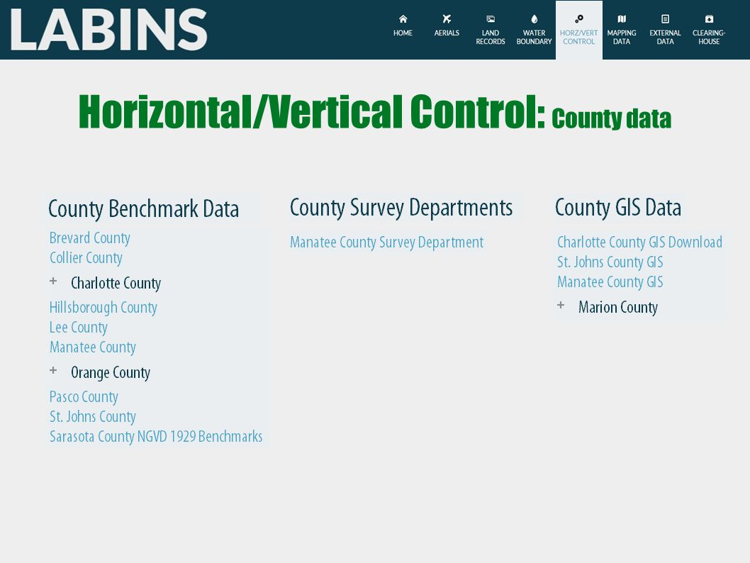 Horizontal/Vertical Control: County data