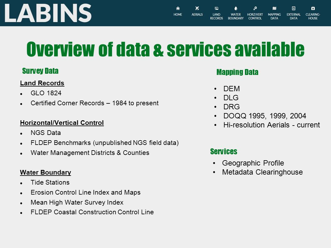 Overview of data & services available Land Records GLO 1824 Certified Corner Records – 1984 to present Horizontal/Vertical Control NGS Data FLDEP Benchmarks (unpublished NGS field data) Water Management Districts & Counties Water Boundary Tide Stations Erosion Control Line Index and Maps Mean High Water Survey Index FLDEP Coastal Construction Control Line Survey Data Mapping Data DEM DLG DRG DOQQ 1995, 1999, 2004 Hi-resolution Aerials - current Services Geographic Profile Metadata Clearinghouse