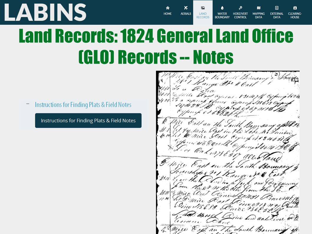 Land Records: 1824 General Land Office (GLO) Records -- Notes