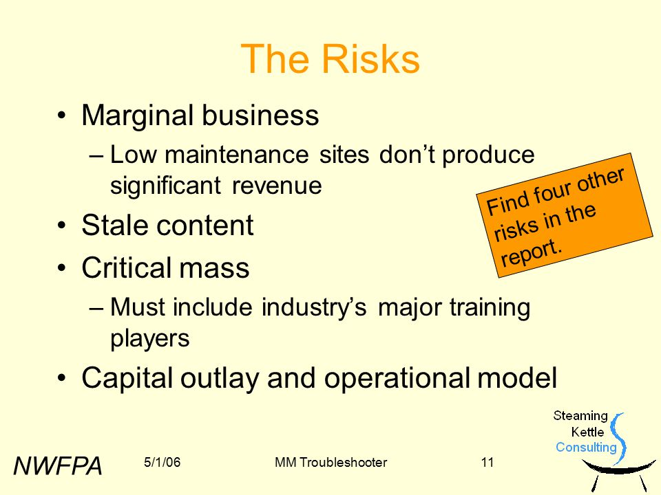 NWFPA 5/1/06MM Troubleshooter11 The Risks Marginal business –Low maintenance sites don't produce significant revenue Stale content Critical mass –Must include industry's major training players Capital outlay and operational model Find four other risks in the report.