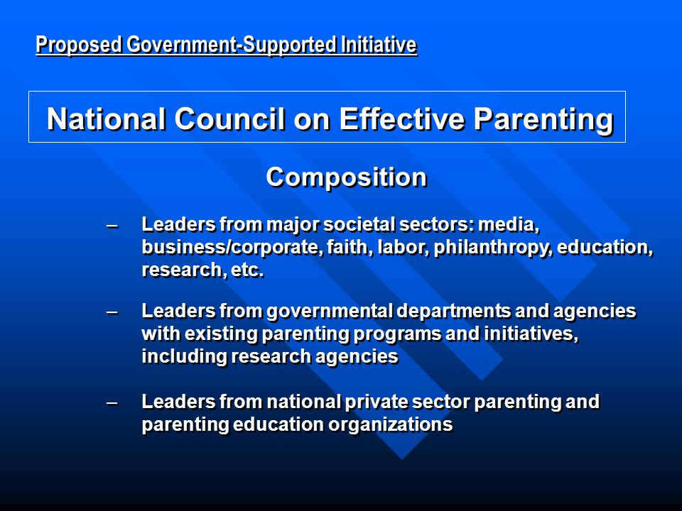 National Council on Effective Parenting Proposed Government-Supported Initiative National Council on Effective Parenting –Leaders from major societal sectors: media, business/corporate, faith, labor, philanthropy, education, research, etc.