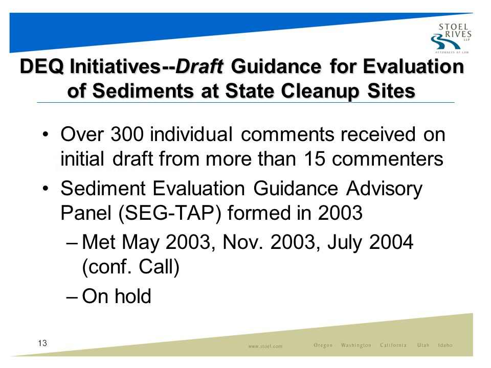 13 DEQ Initiatives--Draft Guidance for Evaluation of Sediments at State Cleanup Sites Over 300 individual comments received on initial draft from more than 15 commenters Sediment Evaluation Guidance Advisory Panel (SEG-TAP) formed in 2003 –Met May 2003, Nov.