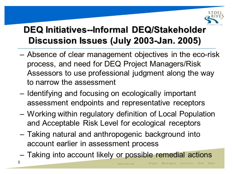 8 DEQ Initiatives--Informal DEQ/Stakeholder Discussion Issues (July 2003-Jan.