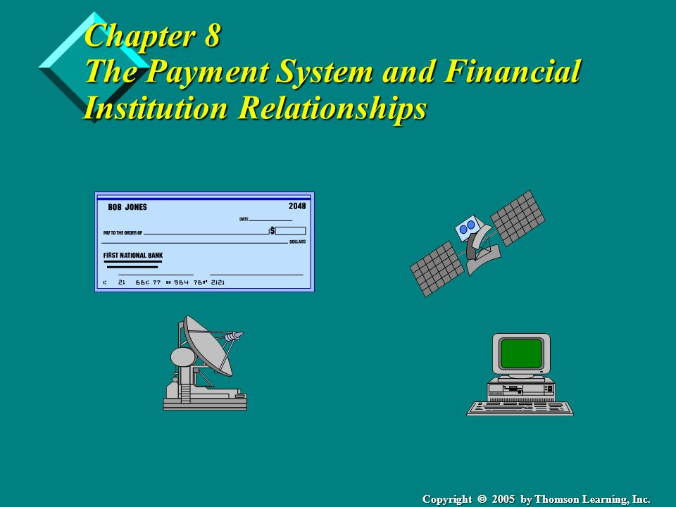 Copyright  2005 by Thomson Learning, Inc. Chapter 8 The Payment System and Financial Institution Relationships