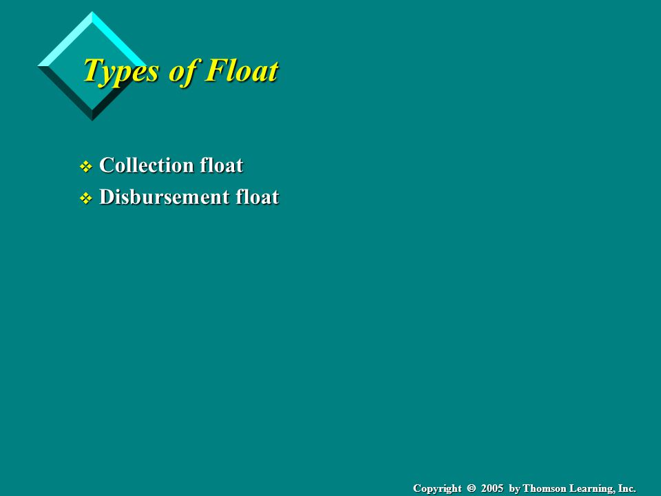 Copyright  2005 by Thomson Learning, Inc. Types of Float v Collection float v Disbursement float