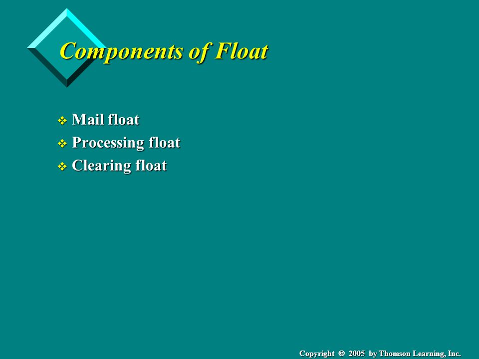 Copyright  2005 by Thomson Learning, Inc. Components of Float v Mail float v Processing float v Clearing float