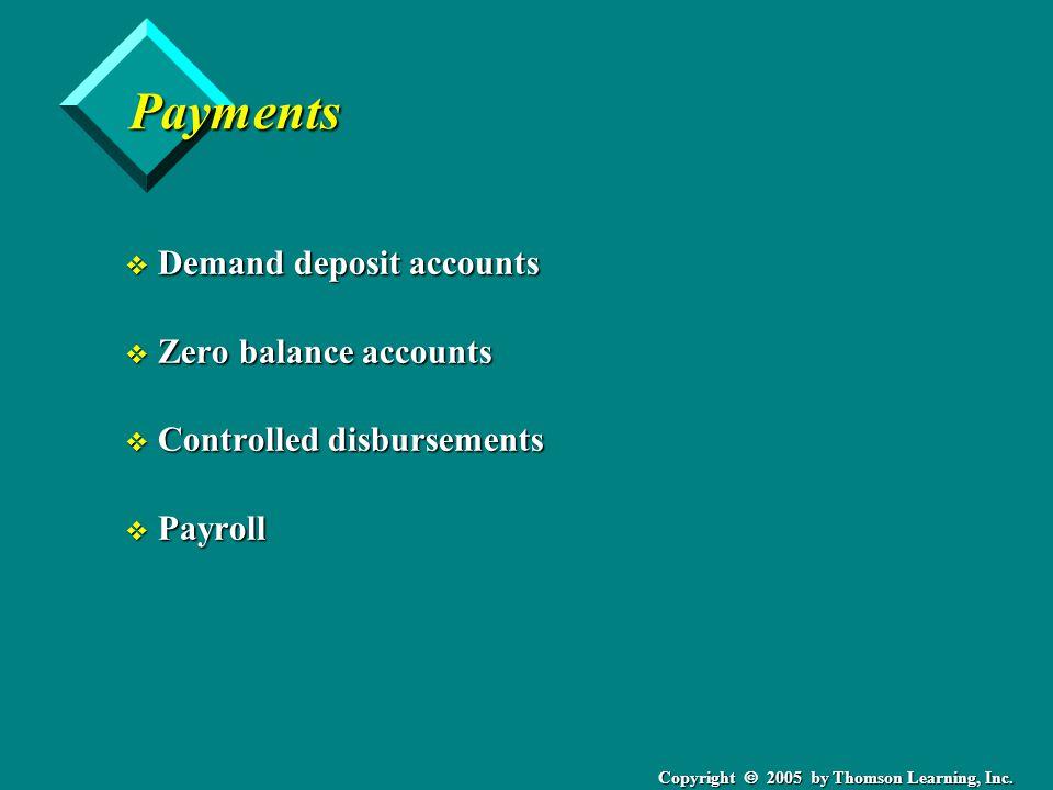 Copyright  2005 by Thomson Learning, Inc. Payments v Demand deposit accounts v Zero balance accounts v Controlled disbursements v Payroll