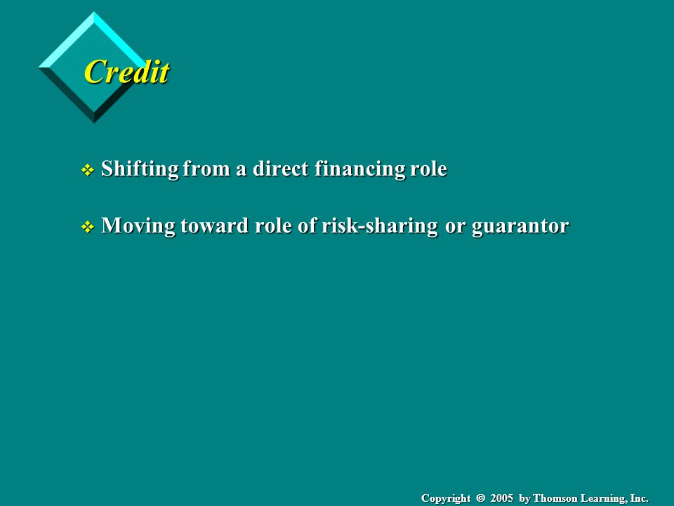 Copyright  2005 by Thomson Learning, Inc. Credit v Shifting from a direct financing role v Moving toward role of risk-sharing or guarantor