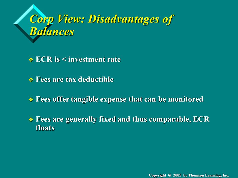 Copyright  2005 by Thomson Learning, Inc. Corp View: Disadvantages of Balances v ECR is < investment rate v Fees are tax deductible v Fees offer tang